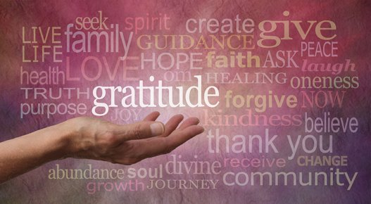 Female hand outstretched with palm up and the word 'Gratitude' hovering above with a stone effect background covered in different colored and sized 'Gratitude' words