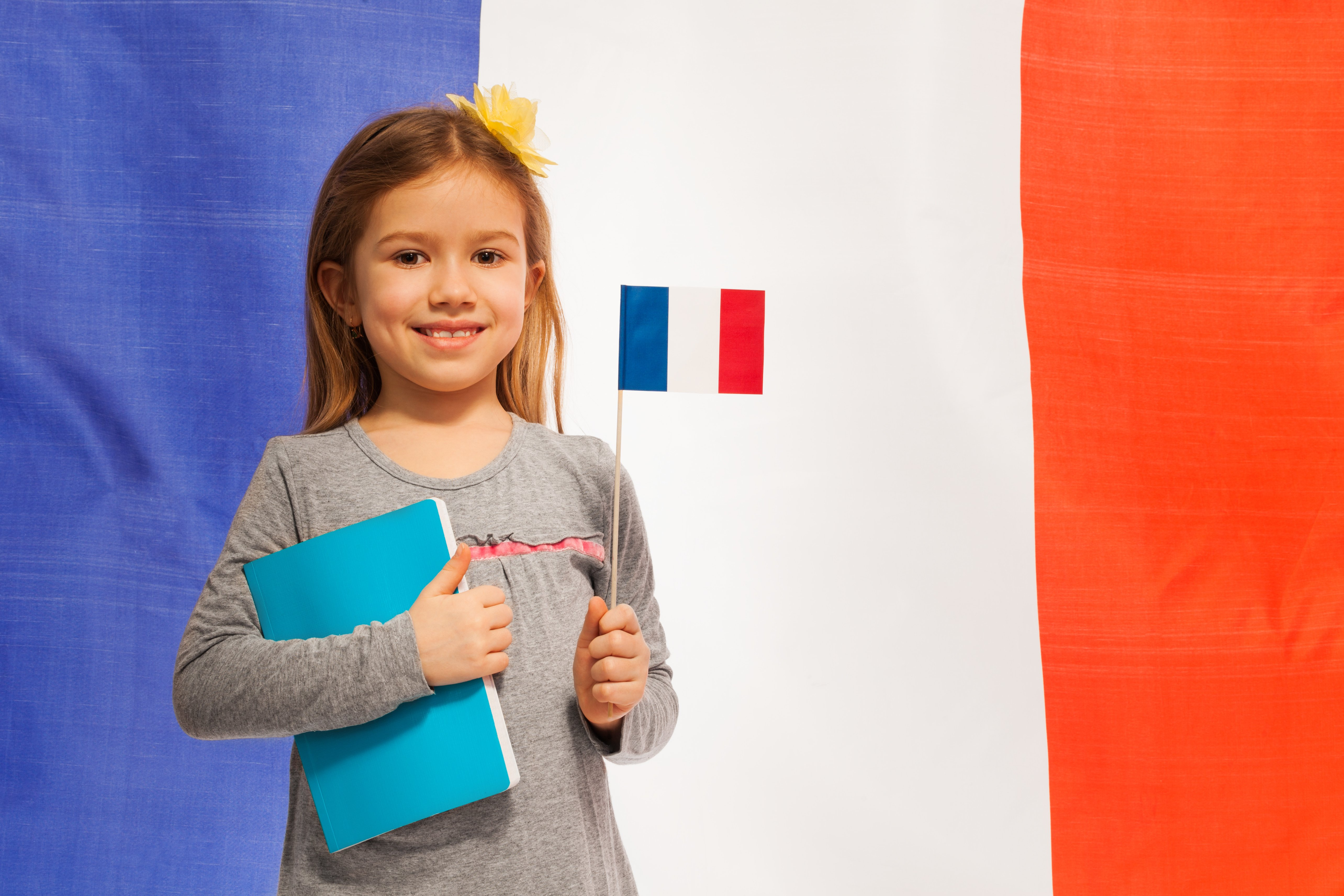 Smiling schoolgirl with flag and textbook against French flag standing against flag of France
